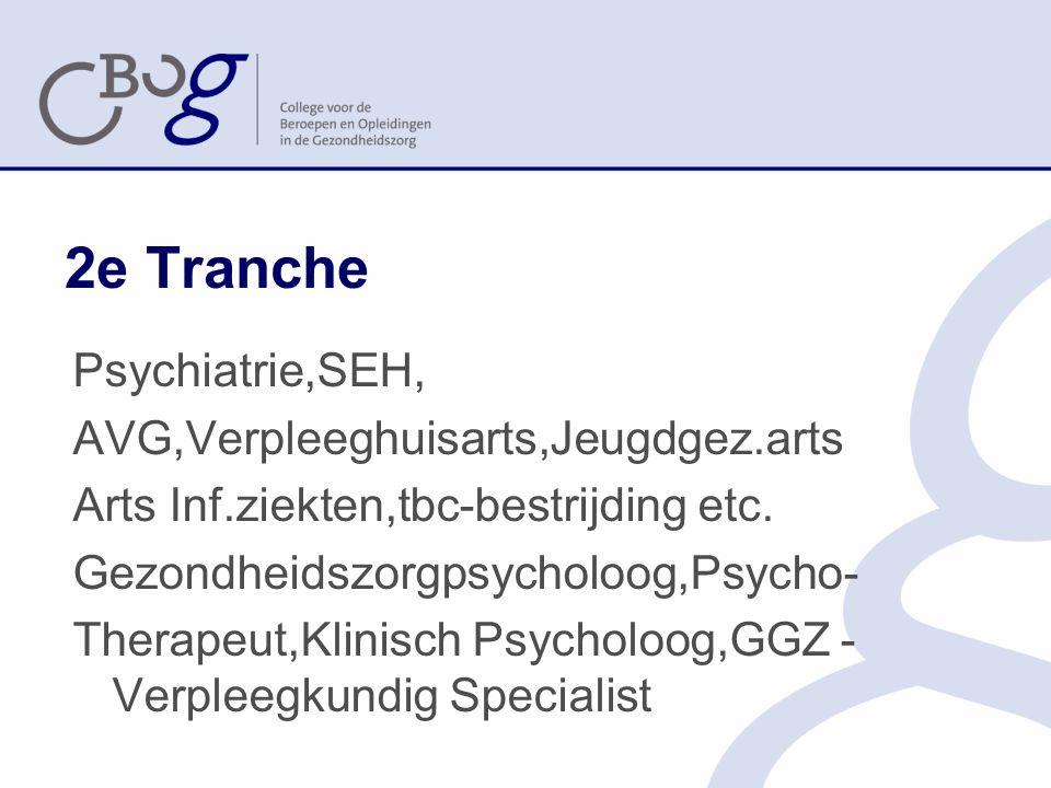 2e Tranche Psychiatrie,SEH, AVG,Verpleeghuisarts,Jeugdgez.arts Arts Inf.ziekten,tbc-bestrijding etc.