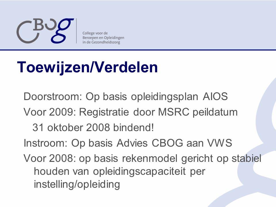 Toewijzen/Verdelen Doorstroom: Op basis opleidingsplan AIOS Voor 2009: Registratie door MSRC peildatum 31 oktober 2008 bindend.