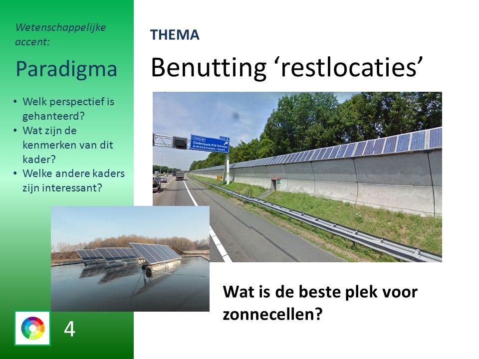 Benutting 'restlocaties' Paradigma Wat is de beste plek voor zonnecellen.