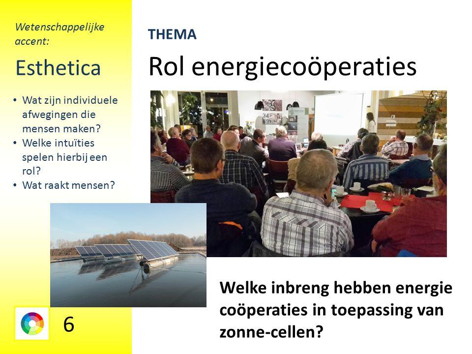 Rol energiecoöperaties Esthetica Welke inbreng hebben energie coöperaties in toepassing van zonne-cellen.