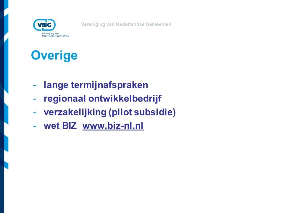 Vereniging van Nederlandse Gemeenten Overige -lange termijnafspraken -regionaal ontwikkelbedrijf -verzakelijking (pilot subsidie) -wet BIZ www.biz-nl.nl