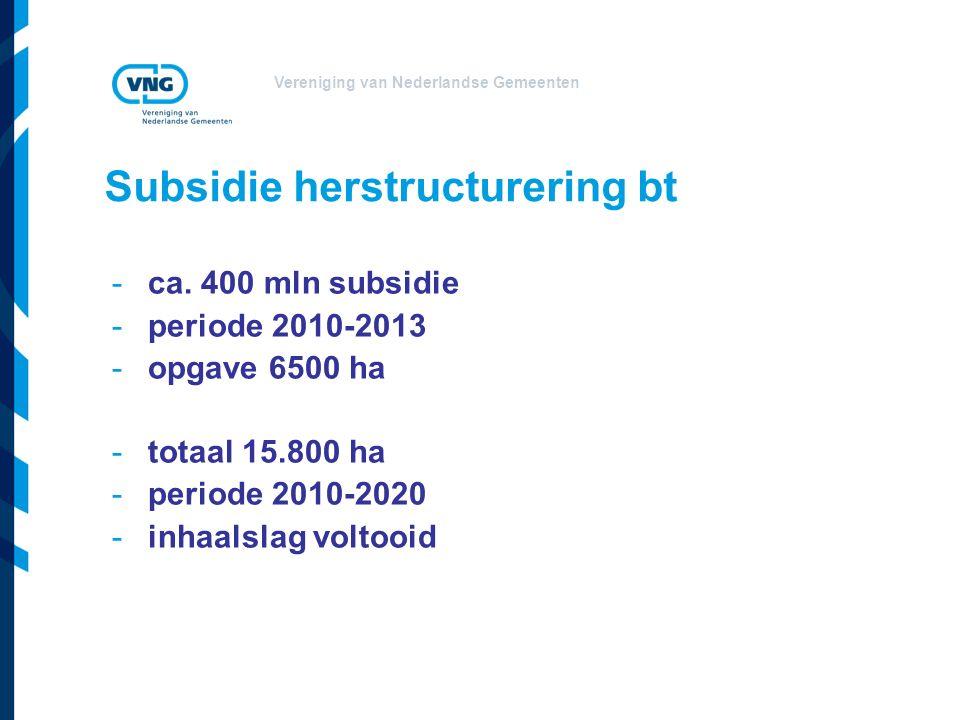 Vereniging van Nederlandse Gemeenten Subsidie herstructurering bt -ca.