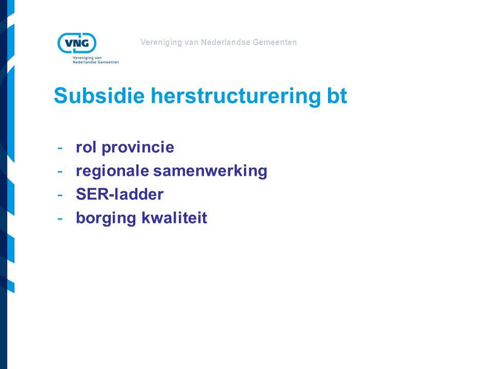 Vereniging van Nederlandse Gemeenten Subsidie herstructurering bt Rol provincie: regie -structuurvisie -provinciale herstructureringsprogramma's -beheerder subsidiegelden