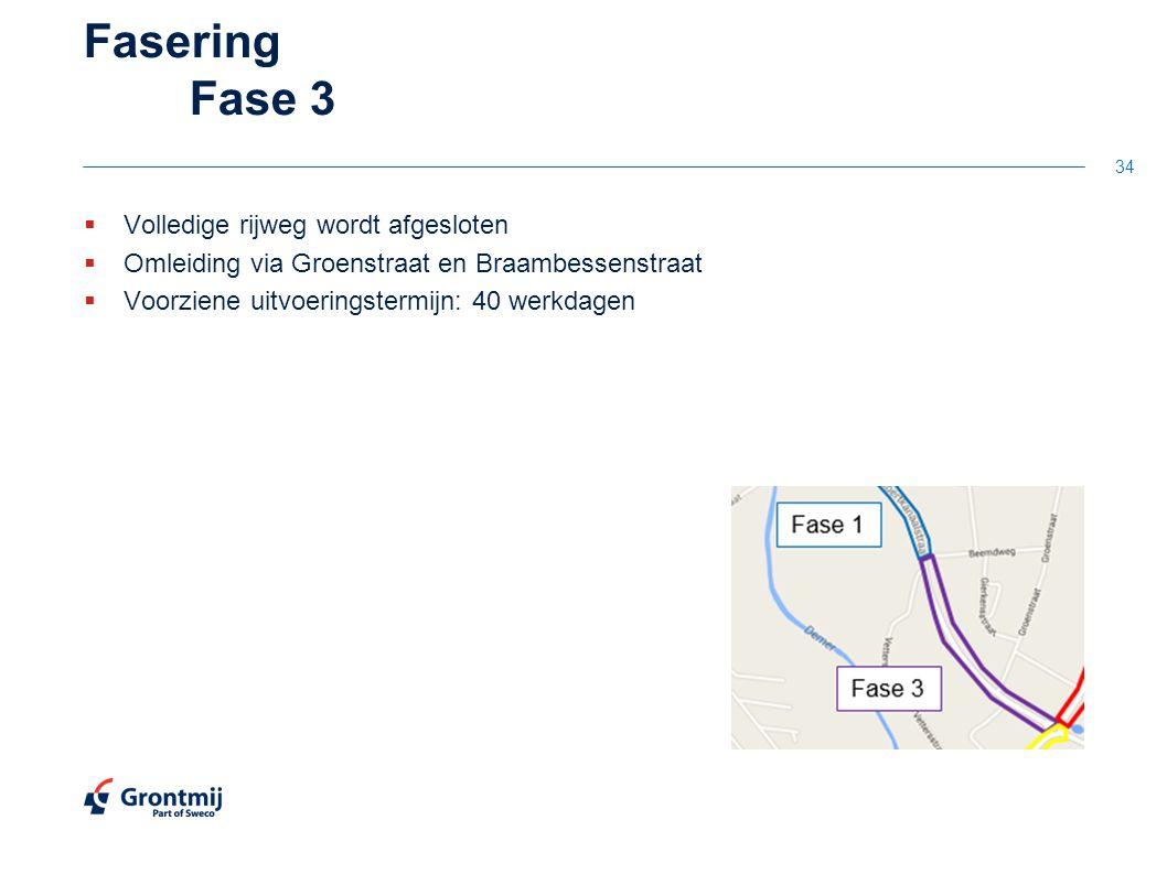 Fasering Fase 3  Volledige rijweg wordt afgesloten  Omleiding via Groenstraat en Braambessenstraat  Voorziene uitvoeringstermijn: 40 werkdagen 34