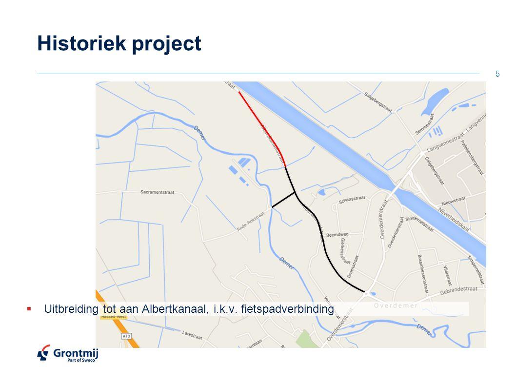 Historiek project  Uitbreiding tot aan Albertkanaal, i.k.v. fietspadverbinding 5