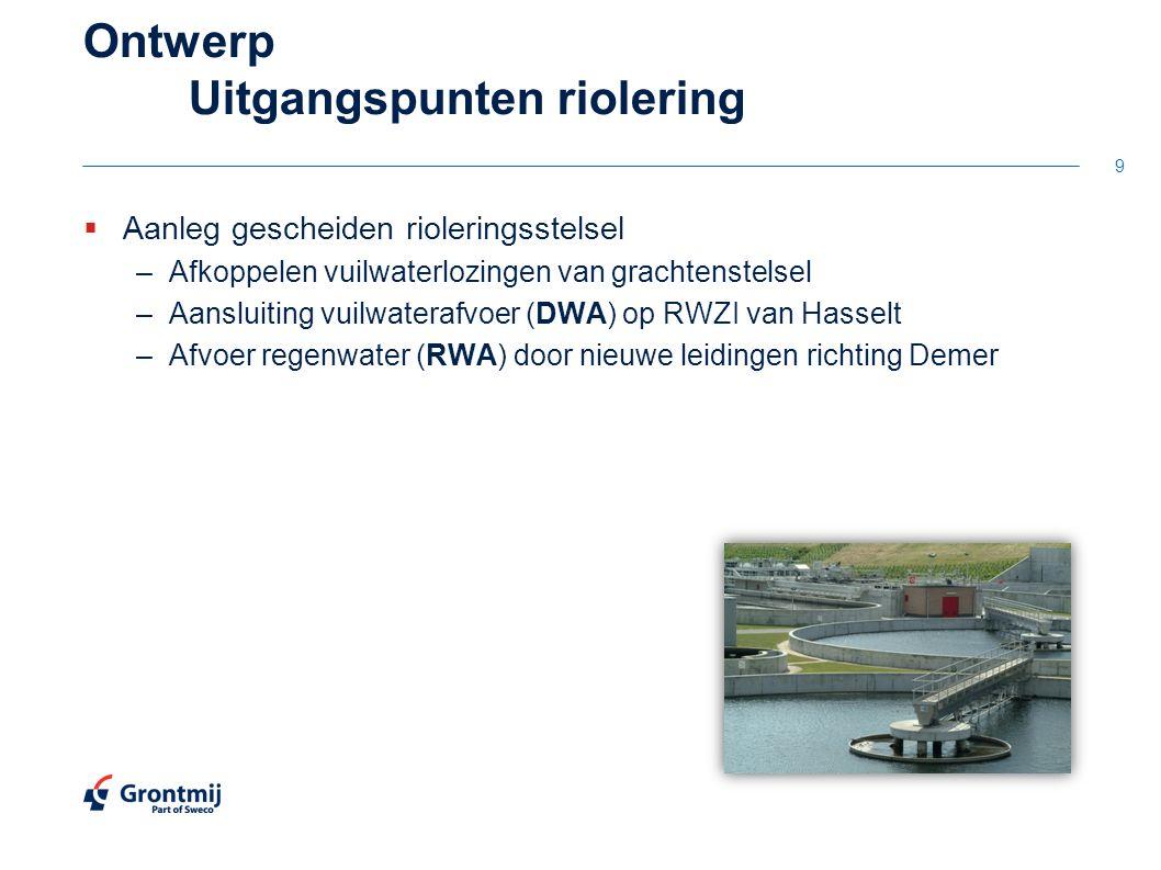 Ontwerp Uitgangspunten riolering  Aanleg gescheiden rioleringsstelsel –Afkoppelen vuilwaterlozingen van grachtenstelsel –Aansluiting vuilwaterafvoer (DWA) op RWZI van Hasselt –Afvoer regenwater (RWA) door nieuwe leidingen richting Demer 9