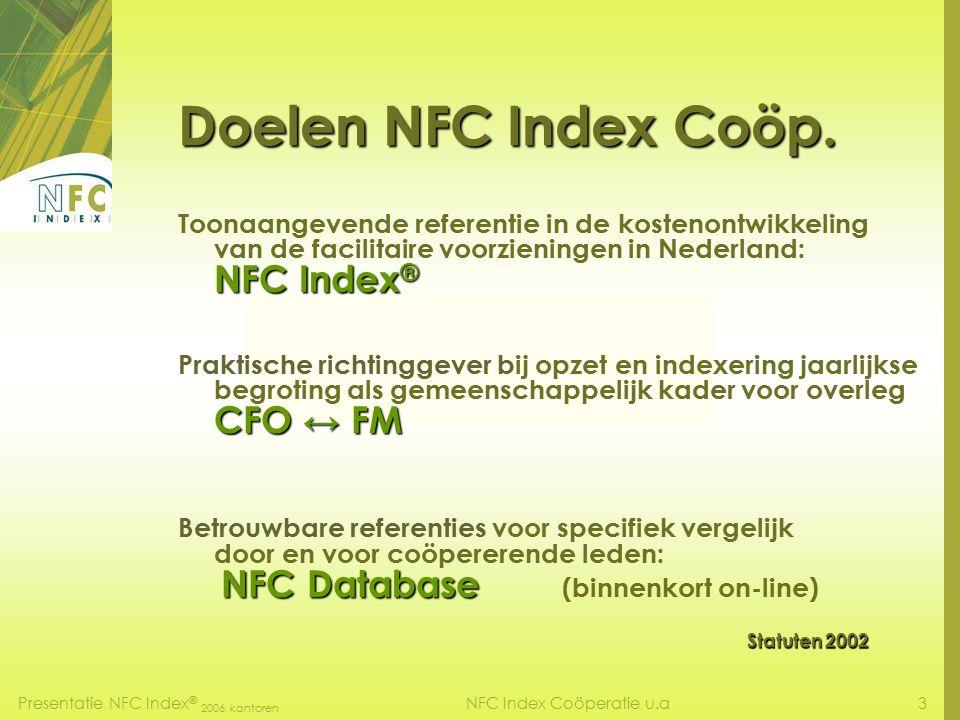 Presentatie NFC Index ® 2006, kantoren 2NFC Index Coöperatie u.a Presentatie NFC Index ® 2006, kantoren facilitaire kosten Rinus Vader MFM CFM Voorzitter Bestuur NFC Index Coöperatie Amsterdam, 8 mei 2007