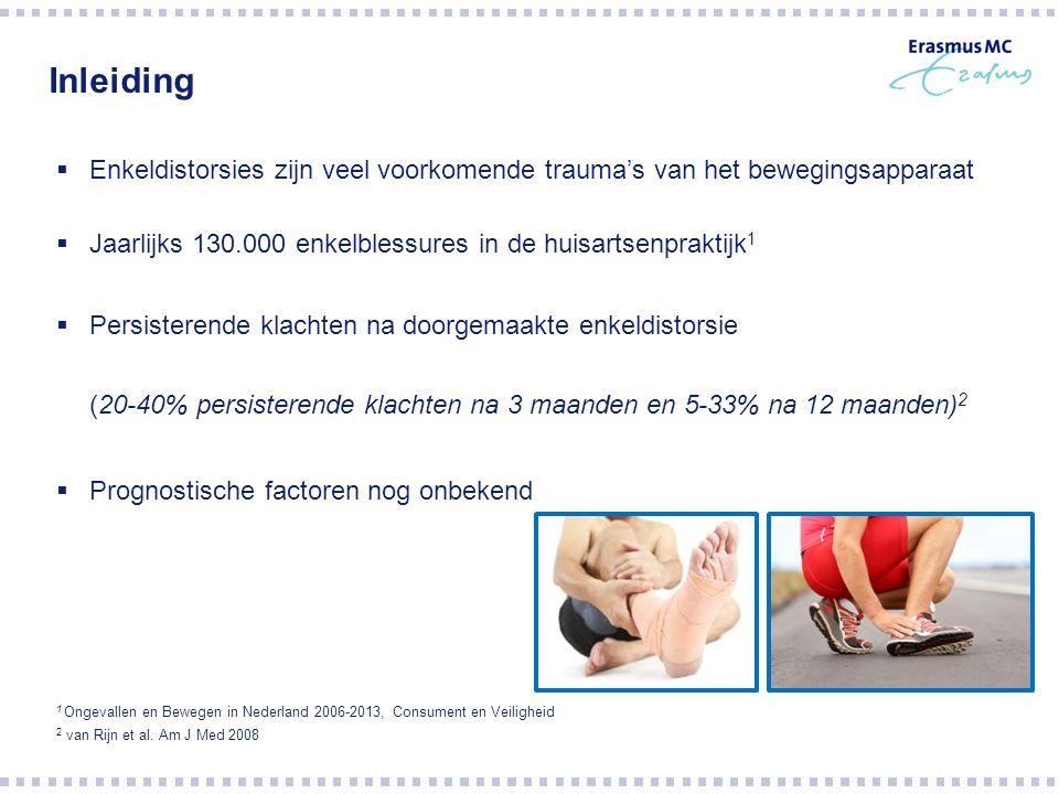 Inleiding  Enkeldistorsies zijn veel voorkomende trauma's van het bewegingsapparaat  Jaarlijks 130.000 enkelblessures in de huisartsenpraktijk 1  Persisterende klachten na doorgemaakte enkeldistorsie (20-40% persisterende klachten na 3 maanden en 5-33% na 12 maanden) 2  Prognostische factoren nog onbekend 1 Ongevallen en Bewegen in Nederland 2006-2013, Consument en Veiligheid 2 van Rijn et al.