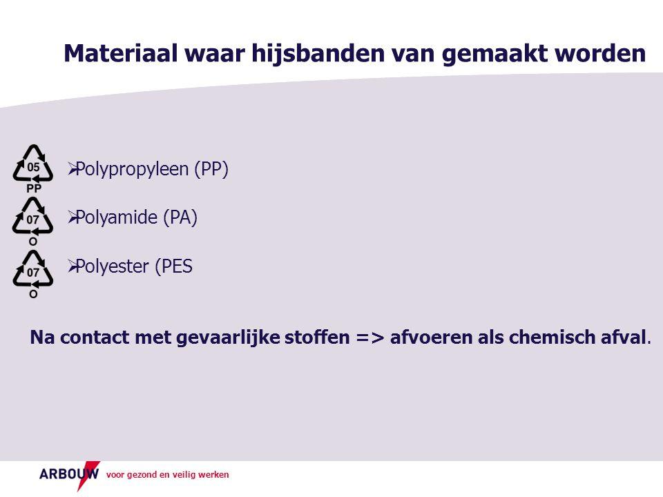 voor gezond en veilig werken Materiaal waar hijsbanden van gemaakt worden  Polypropyleen (PP)  Polyamide (PA)  Polyester (PES Na contact met gevaar