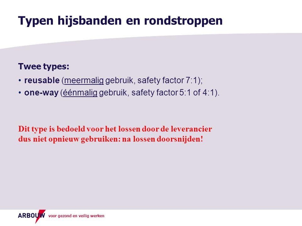 voor gezond en veilig werken Twee types: reusable (meermalig gebruik, safety factor 7:1); one-way (éénmalig gebruik, safety factor 5:1 of 4:1). Dit ty