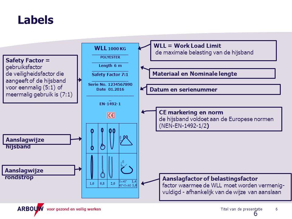 voor gezond en veilig werken Labels 6Titel van de presentatie 6 WLL 1000 KG ____________________ POLYESTER ____________________ Length 6 m ___________