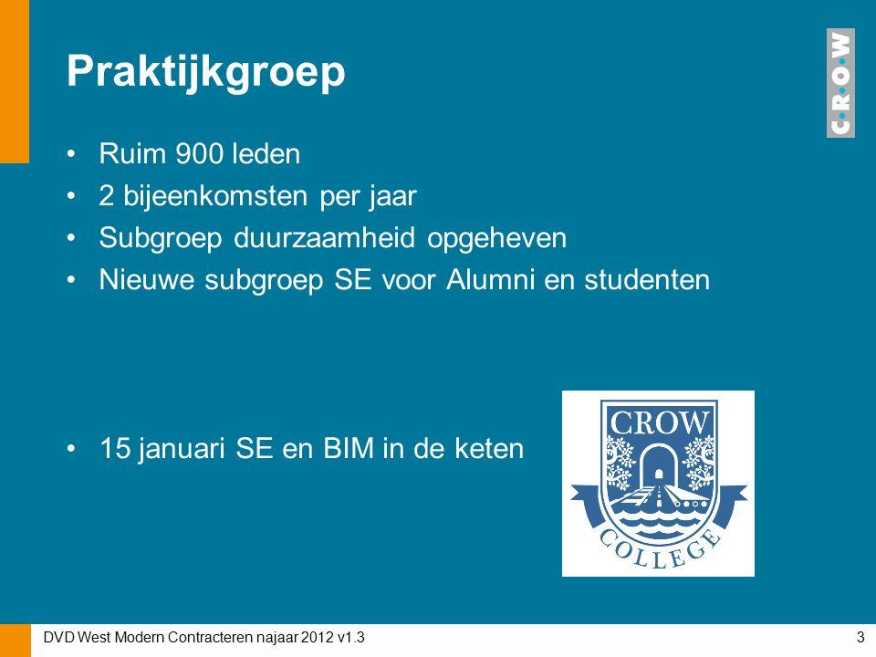 Praktijkgroep Ruim 900 leden 2 bijeenkomsten per jaar Subgroep duurzaamheid opgeheven Nieuwe subgroep SE voor Alumni en studenten 15 januari SE en BIM in de keten DVD West Modern Contracteren najaar 2012 v1.33