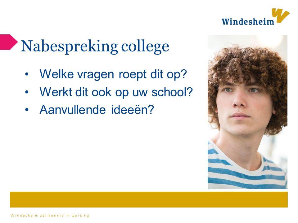Windesheim zet kennis in werking Nabespreking college Welke vragen roept dit op.