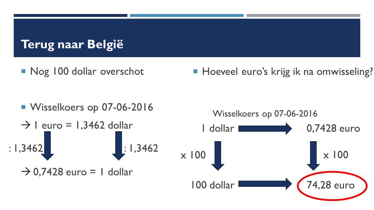 Terug naar België  Nog 100 dollar overschot  Wisselkoers op 07-06-2016  1 euro = 1,3462 dollar  Hoeveel euro's krijg ik na omwisseling.