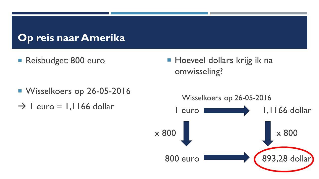 Op reis naar Amerika  Reisbudget: 800 euro  Wisselkoers op 26-05-2016  1 euro = 1,1166 dollar  Hoeveel dollars krijg ik na omwisseling.