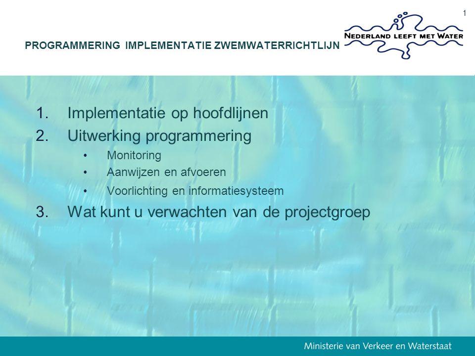13 december 2006 1 1.Implementatie op hoofdlijnen 2.Uitwerking programmering Monitoring Aanwijzen en afvoeren Voorlichting en informatiesysteem 3.Wat kunt u verwachten van de projectgroep PROGRAMMERING IMPLEMENTATIE ZWEMWATERRICHTLIJN