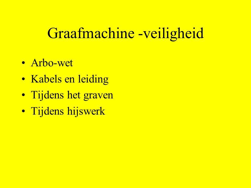 Graafmachine -veiligheid Arbo-wet Kabels en leiding Tijdens het graven Tijdens hijswerk