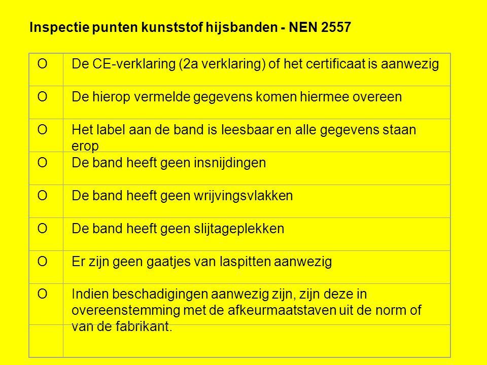 Inspectie punten kunststof hijsbanden - NEN 2557 ODe CE-verklaring (2a verklaring) of het certificaat is aanwezig ODe hierop vermelde gegevens komen h