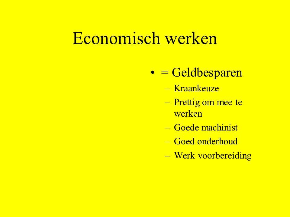 Economisch werken = Geldbesparen –Kraankeuze –Prettig om mee te werken –Goede machinist –Goed onderhoud –Werk voorbereiding