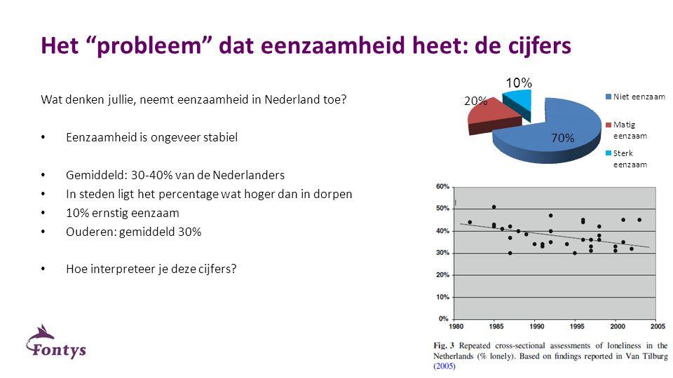"""Het """"probleem"""" dat eenzaamheid heet: de cijfers Wat denken jullie, neemt eenzaamheid in Nederland toe? Eenzaamheid is ongeveer stabiel Gemiddeld: 30-4"""