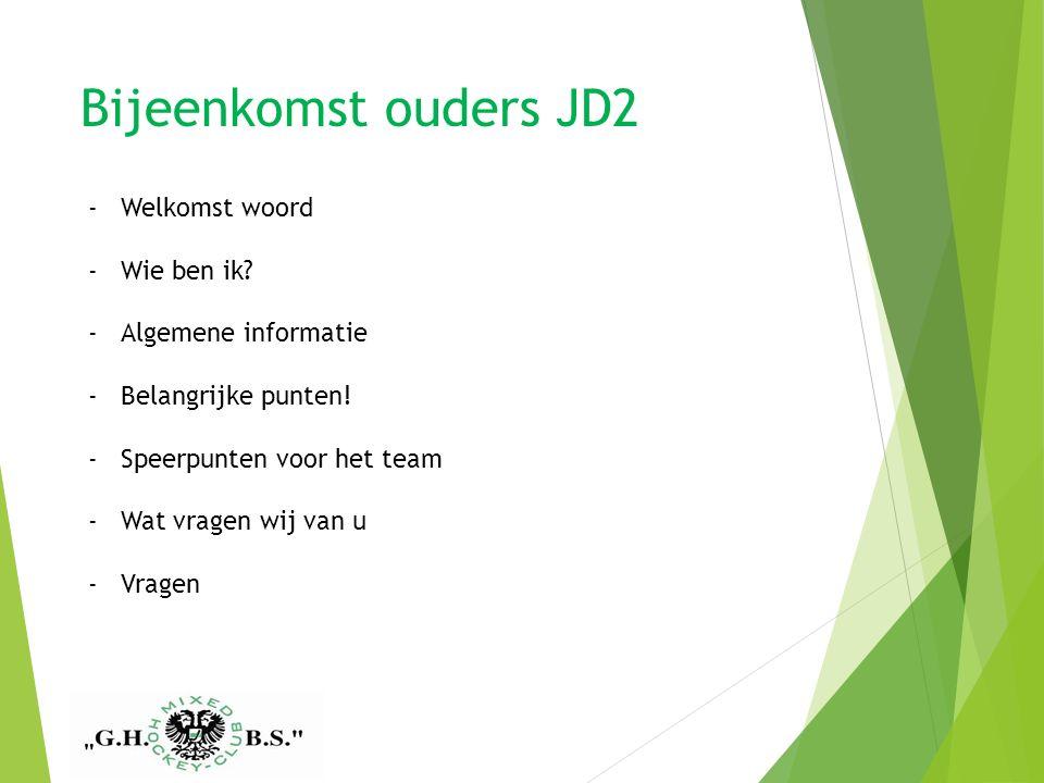 Bijeenkomst ouders JD2 GHBS Meisjes C1 seizoen 2014/2015 -Welkomst woord -Wie ben ik.