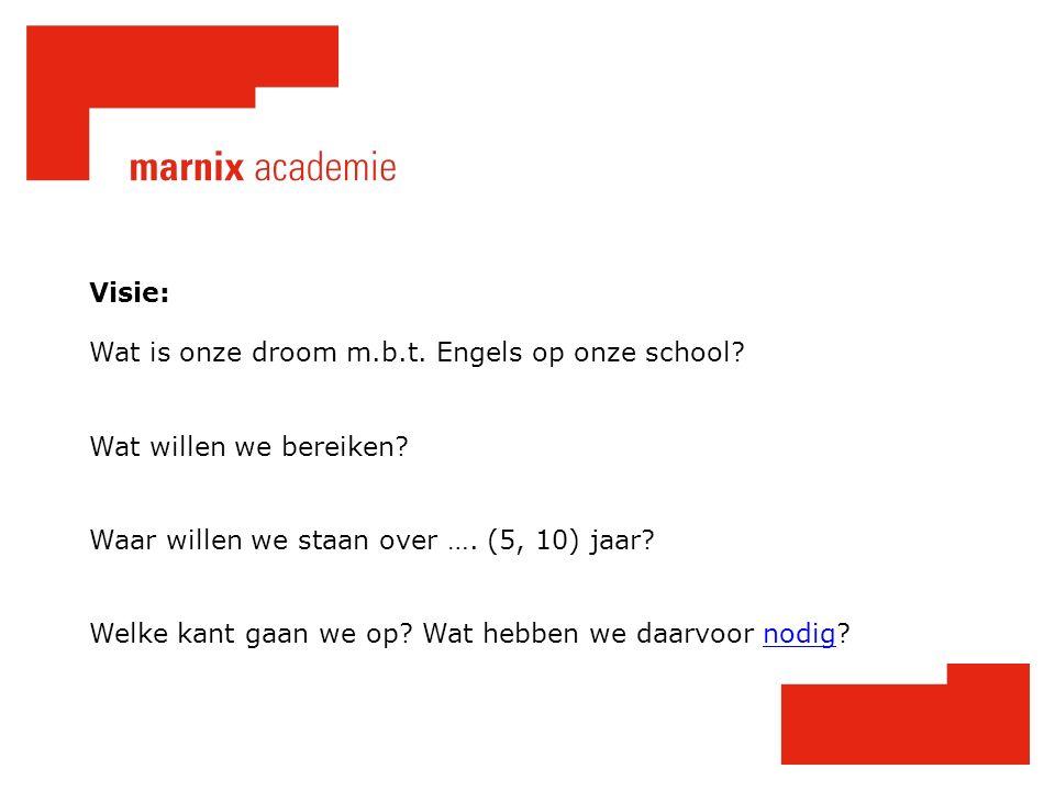 Visie: Wat is onze droom m.b.t. Engels op onze school.