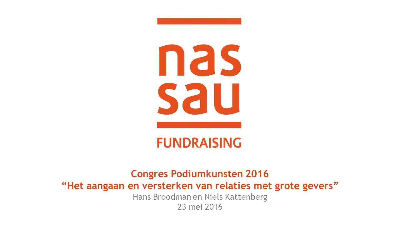 Congres Podiumkunsten 2016 Het aangaan en versterken van relaties met grote gevers Hans Broodman en Niels Kattenberg 23 mei 2016