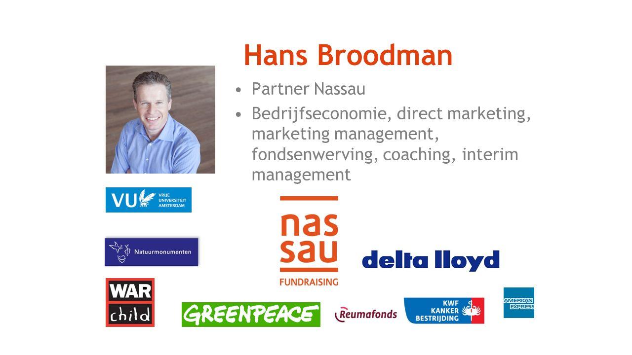 Hans Broodman Partner Nassau Bedrijfseconomie, direct marketing, marketing management, fondsenwerving, coaching, interim management