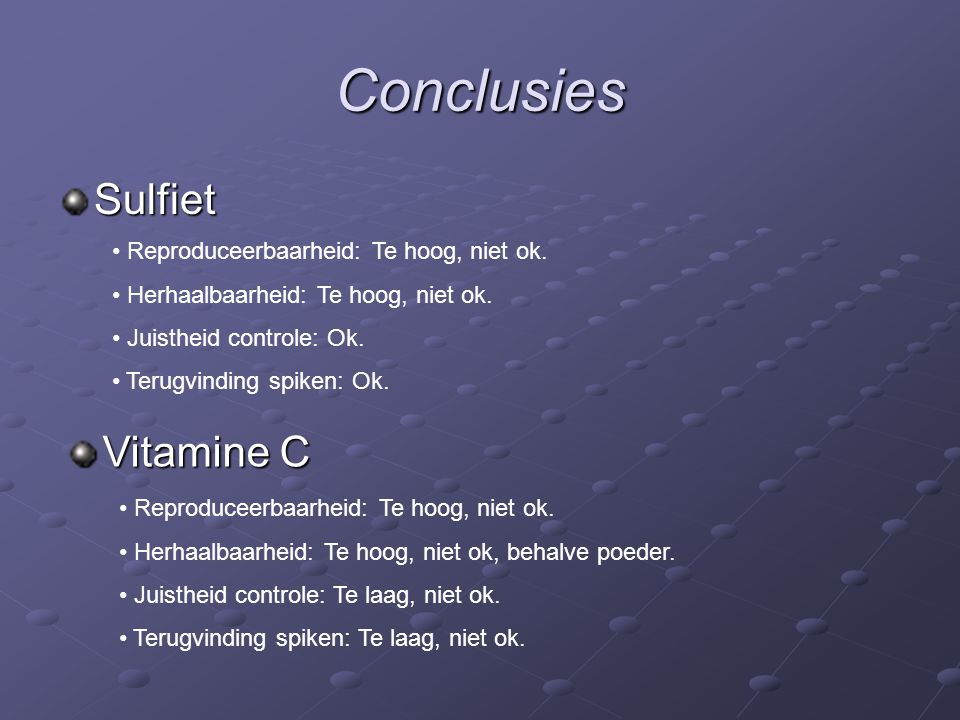 Conclusies Sulfiet Reproduceerbaarheid: Te hoog, niet ok.