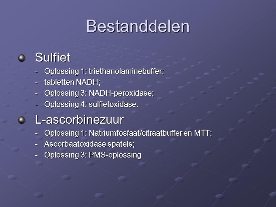 Bestanddelen Sulfiet -Oplossing 1: triethanolaminebuffer; -tabletten NADH; -Oplossing 3: NADH-peroxidase; -Oplossing 4: sulfietoxidase.