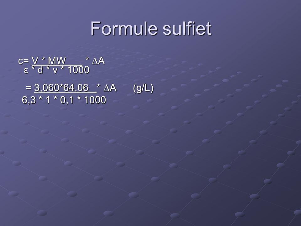 Formule sulfiet c= V * MW *  A ε * d * v * 1000 ε * d * v * 1000 = 3,060*64,06 *  A (g/L) = 3,060*64,06 *  A (g/L) 6,3 * 1 * 0,1 * 1000 6,3 * 1 * 0,1 * 1000
