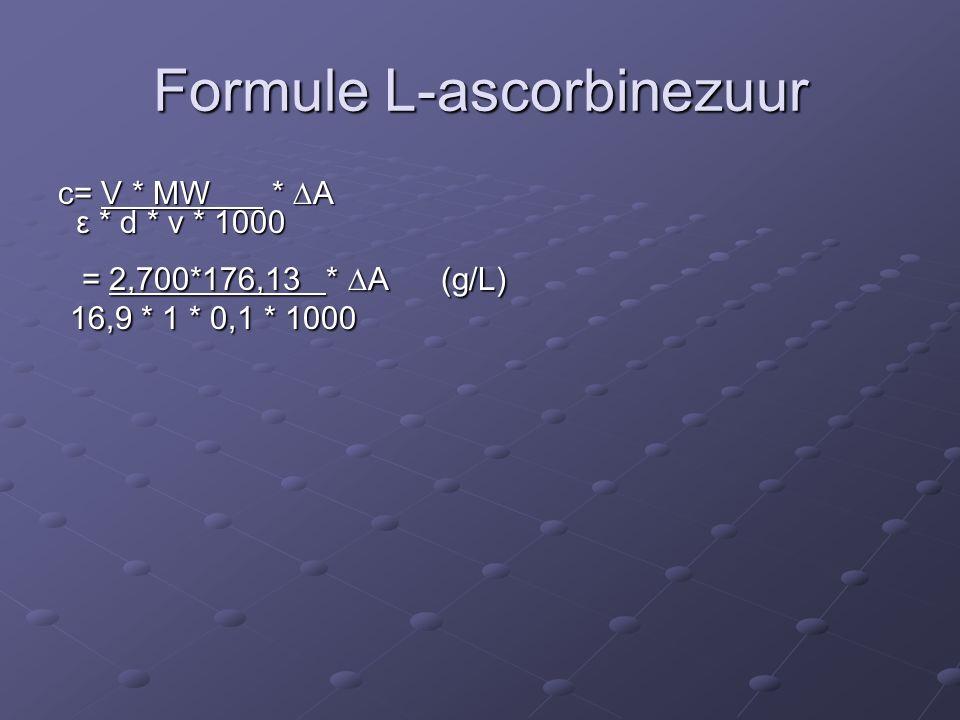 Formule L-ascorbinezuur c= V * MW *  A ε * d * v * 1000 ε * d * v * 1000 = 2,700*176,13 *  A (g/L) = 2,700*176,13 *  A (g/L) 16,9 * 1 * 0,1 * 1000 16,9 * 1 * 0,1 * 1000