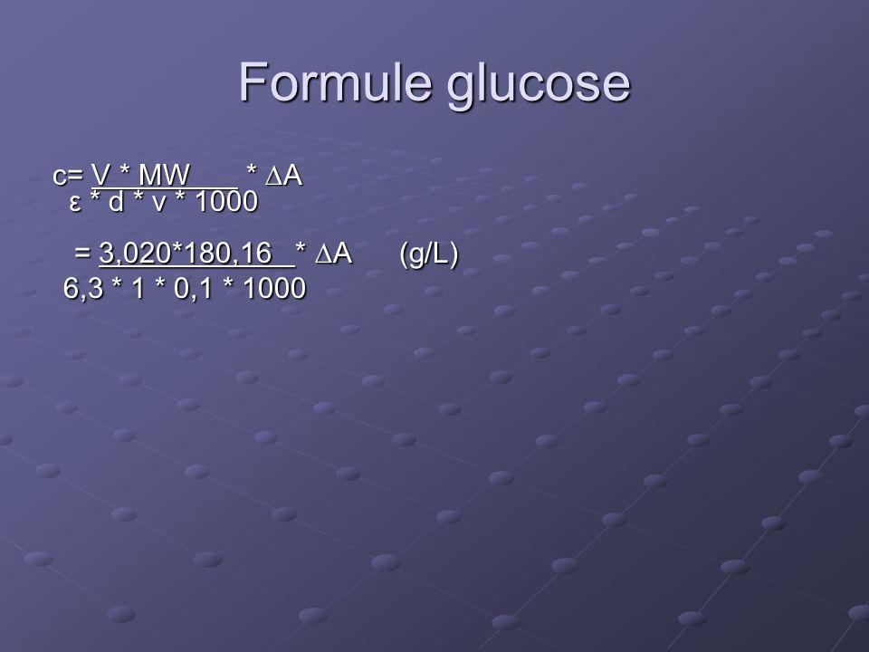 Formule glucose c= V * MW *  A ε * d * v * 1000 ε * d * v * 1000 = 3,020*180,16 *  A (g/L) = 3,020*180,16 *  A (g/L) 6,3 * 1 * 0,1 * 1000 6,3 * 1 * 0,1 * 1000