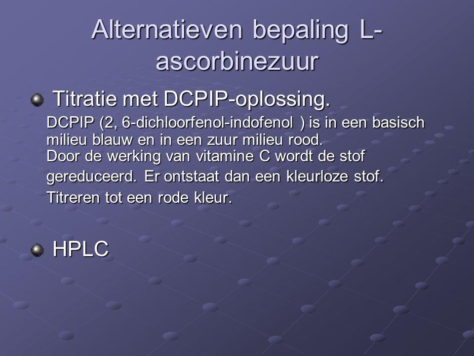 Alternatieven bepaling L- ascorbinezuur Titratie met DCPIP-oplossing.