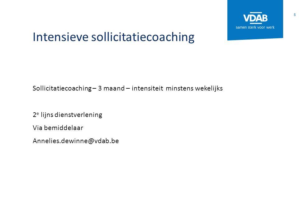 Intensieve sollicitatiecoaching Sollicitatiecoaching – 3 maand – intensiteit minstens wekelijks 2 e lijns dienstverlening Via bemiddelaar Annelies.dew