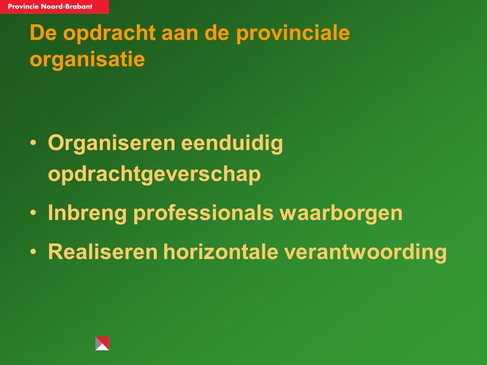 De opdracht aan de provinciale organisatie Organiseren eenduidig opdrachtgeverschap Inbreng professionals waarborgen Realiseren horizontale verantwoording