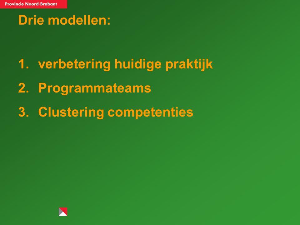 Drie modellen: 1.verbetering huidige praktijk 2.Programmateams 3.Clustering competenties