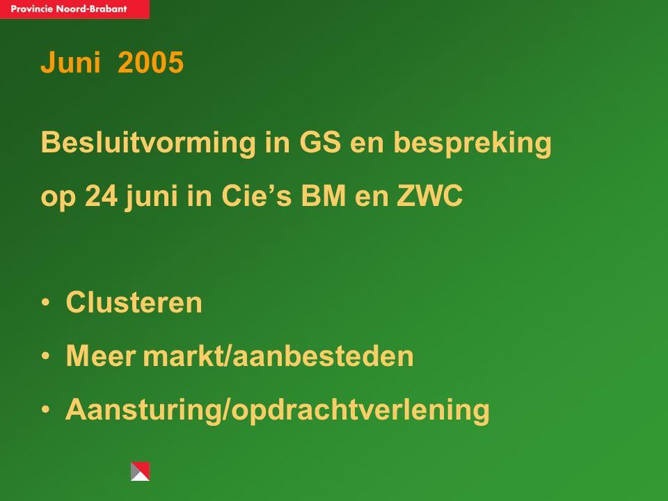 Clusteren 1.Initiatief POG, BOZ, Prisma ambtelijke gesprekken verlopen positief bestuurlijk overleg op 14 november over inhoudelijke opdracht nieuwe organisatie Bestuurlijk overleg op 6 december over financiën en randvoorwaarden Besluitvorming voorzien voorjaar 2006