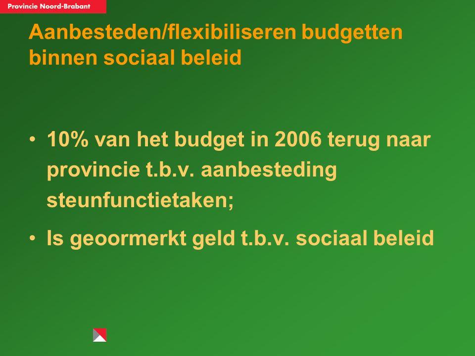 Aanbesteden/flexibiliseren budgetten binnen sociaal beleid 10% van het budget in 2006 terug naar provincie t.b.v.