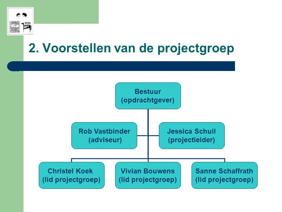 2. Voorstellen van de projectgroep Bestuur (opdrachtgever) Christel Koek (lid projectgroep) Vivian Bouwens (lid projectgroep) Sanne Schaffrath (lid pr