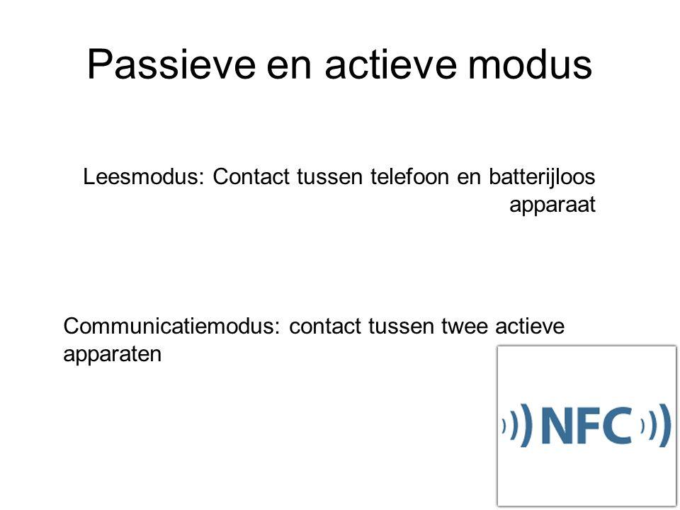 Passieve en actieve modus Leesmodus: Contact tussen telefoon en batterijloos apparaat Communicatiemodus: contact tussen twee actieve apparaten
