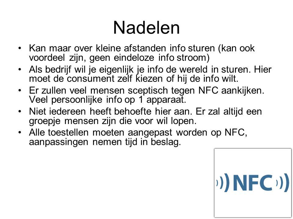 NFC als marketinginstrument Extra informatie, uitwisselen en opvragen Het is een verlengstuk van bestaande marketingacties Conclusie over NFC als marketinginstrument