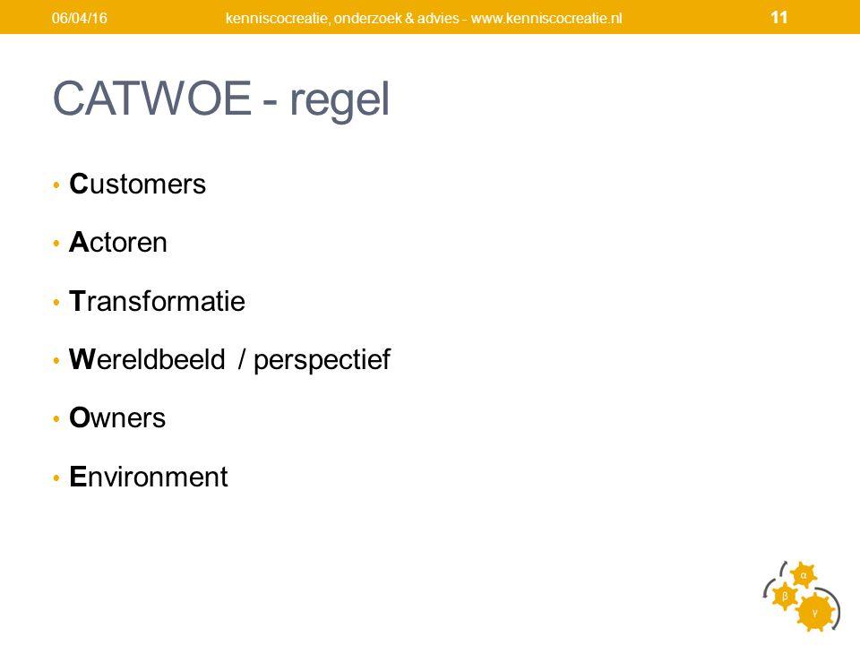 CATWOE - regel Customers Actoren Transformatie Wereldbeeld / perspectief Owners Environment kenniscocreatie, onderzoek & advies - www.kenniscocreatie.nl06/04/16 11