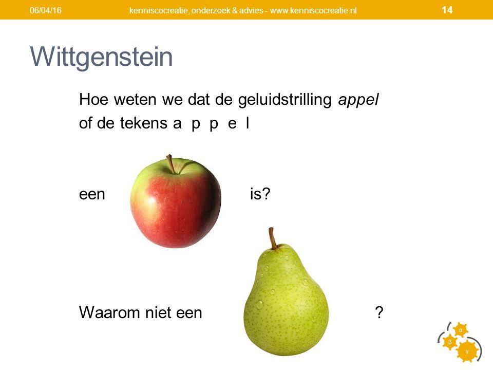 Wittgenstein Hoe weten we dat de geluidstrilling appel of de tekens a p p e l een is.