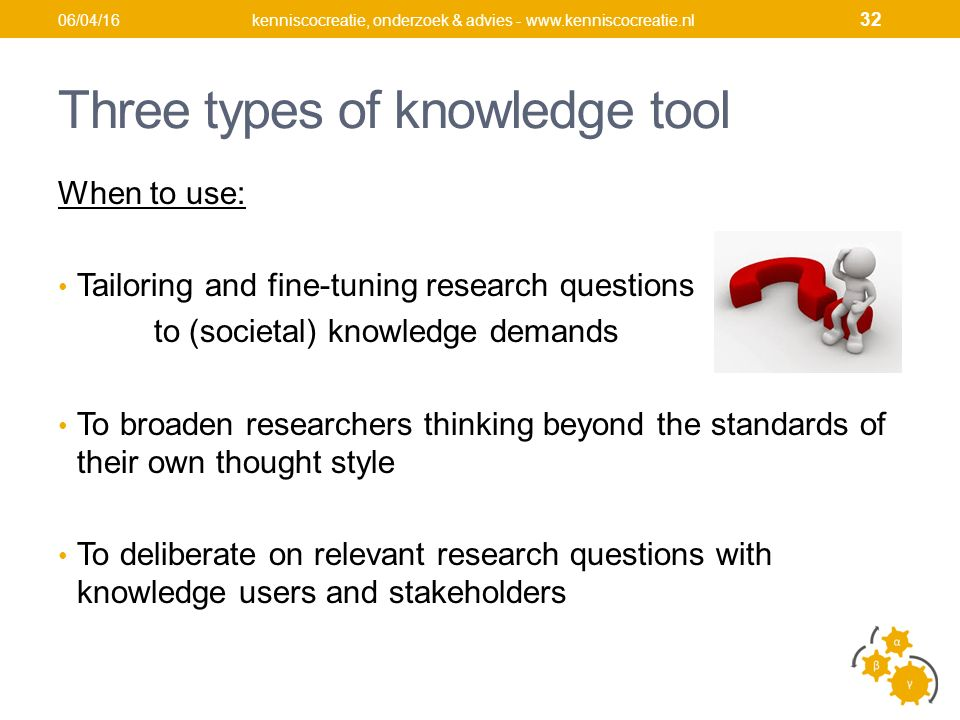 Three types of knowledge tool When to use: Tailoring and fine-tuning research questions to (societal) knowledge demands To broaden researchers thinkin