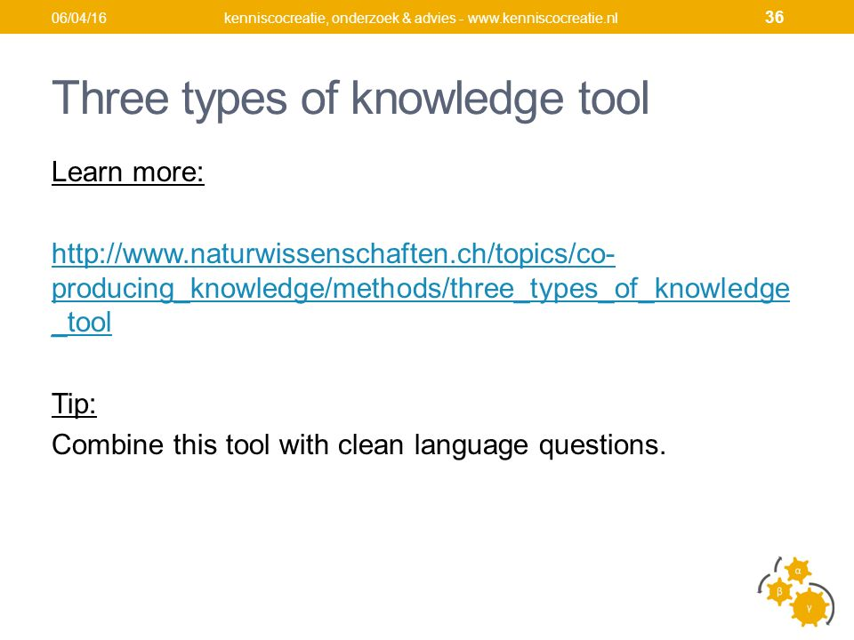Three types of knowledge tool Learn more: http://www.naturwissenschaften.ch/topics/co- producing_knowledge/methods/three_types_of_knowledge _tool Tip: