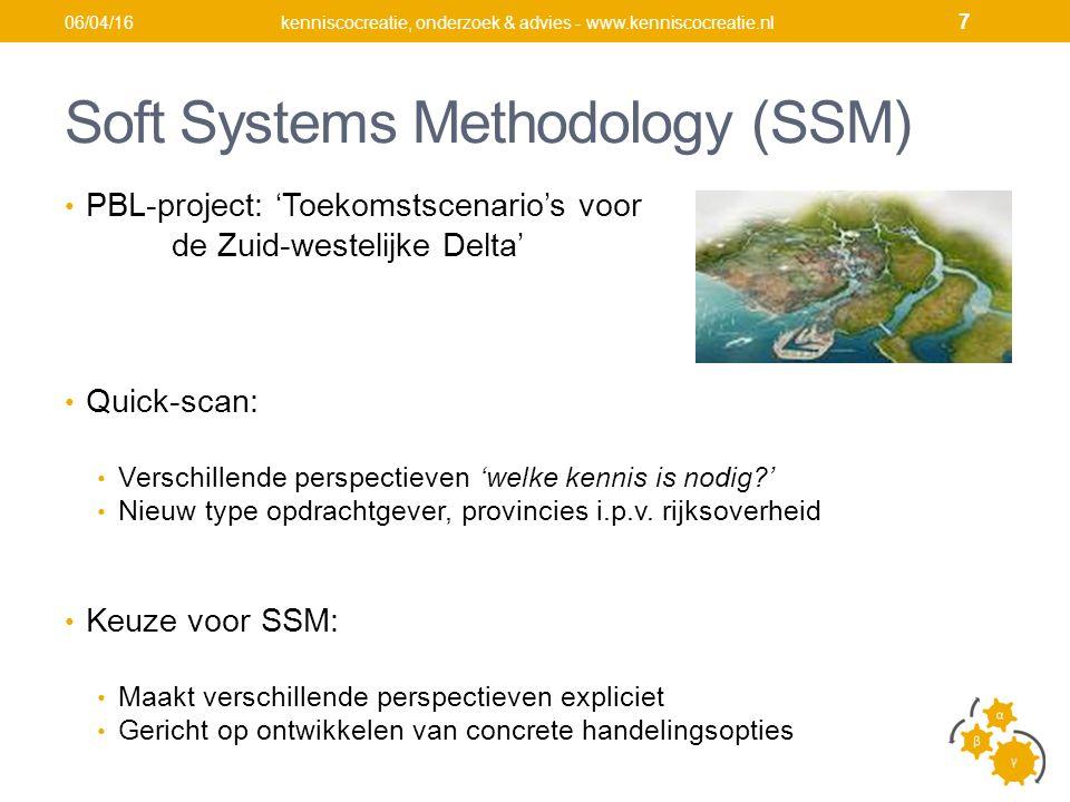 Soft Systems Methodology (SSM) PBL-project: 'Toekomstscenario's voor de Zuid-westelijke Delta' Quick-scan: Verschillende perspectieven 'welke kennis is nodig ' Nieuw type opdrachtgever, provincies i.p.v.