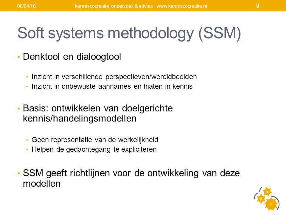 Soft systems methodology (SSM) Denktool en dialoogtool Inzicht in verschillende perspectieven/wereldbeelden Inzicht in onbewuste aannames en hiaten in kennis Basis: ontwikkelen van doelgerichte kennis/handelingsmodellen Geen representatie van de werkelijkheid Helpen de gedachtegang te expliciteren SSM geeft richtlijnen voor de ontwikkeling van deze modellen kenniscocreatie, onderzoek & advies - www.kenniscocreatie.nl06/04/16 9