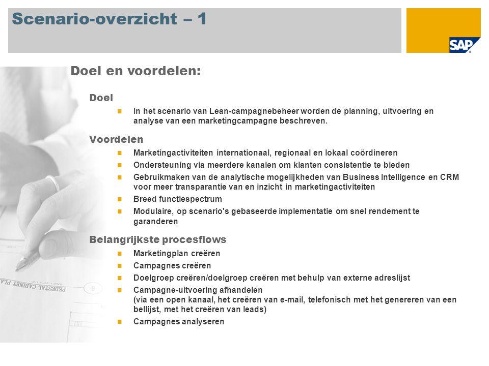 Scenario-overzicht – 1 Doel In het scenario van Lean-campagnebeheer worden de planning, uitvoering en analyse van een marketingcampagne beschreven. Vo