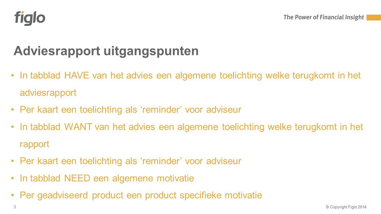 Agenda-slide Adviesrapport uitgangspunten © Copyright Figlo 20143 In tabblad HAVE van het advies een algemene toelichting welke terugkomt in het advie
